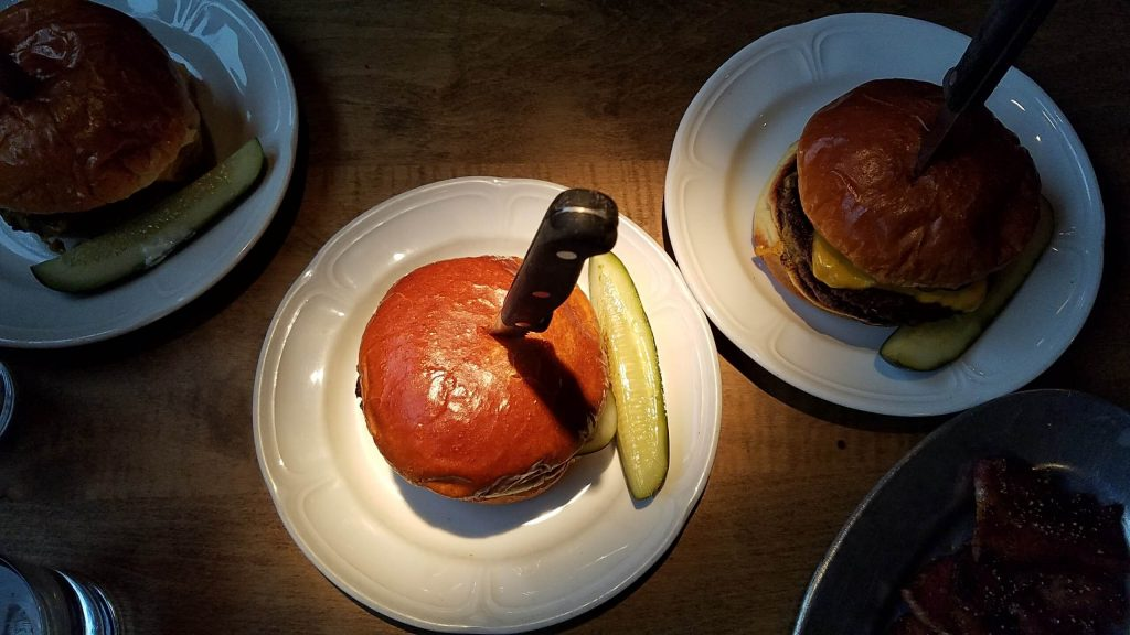 Au Cheval Burger with Knife